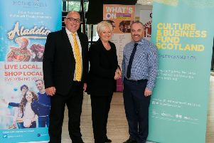 Spillers production director Bev Berridge (left) and Motherwell Theatre and Concert Hall venue manager Craig Smart with Motherwell Shopping Centre manager Geraldine ElMasrour, which is sponsoring this year's pantomime Aladdin