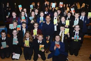 Bali Rai with first year pupils from schools across North Lanarkshire at the conclusion of the 'Read to Succeed' programme
