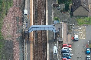 The footbridge over the railway line at Cleland station is being replaced