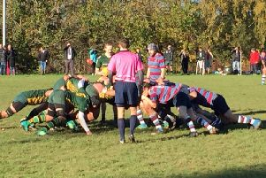 A keenly contested scrum during Saturdays Tennents West Division 2 encounter