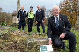 British War Graves volunteer Bill May (front) at the Globe Cemetery with  (l-r) Commonwealth War Graves Commission regional manager Iain Anderson, Inspector Keith Campbell and North Lanarkshire Council leader Jim Logue