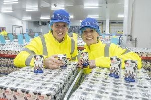 Scottish 400m hurdles  record holder Eilidh Doyle joins M�ller Milk & Ingredients CEO Patrick M�ller to mark the completion of the work at the Bellshill dairy which makes the Official Milk and Milk Drinks of British Athletics. 'Pic: Peter Devlin