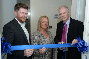 Councillor Allan Graham, right, opens the new Roylance Storage unit at MediCity.