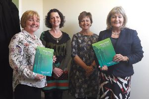 Occupational therapists Shonaid McCabe, Lisa Greer, Jacqueline Terrance and Margaret Mitchell MSP.