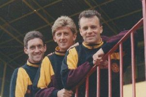 Former Motherwell team-mates Iain Ferguson (centre), the late Davie Cooper (right) and Craig Paterson