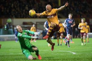 Motherwell striker Curtis Main in action against Ross County in 'Well's 2-0 home Scottish Premiership win over the Highlanders almost exactly a year ago. (Pic by Ian McFadyen)