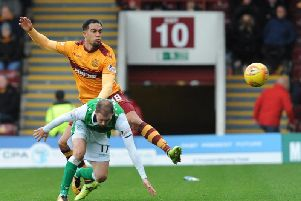 Motherwell's Charles Dunne battles with Hibs' Martin Boyle during a league clash between the sides at Fir Park last season