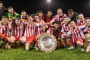 Formartine players celebrate after winning the Aberdeenshire Shield for the first time in the club's history.