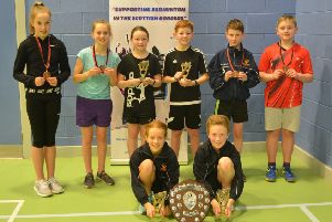 Borders primary school badminton winners after the tournament held at Earlston High School.
