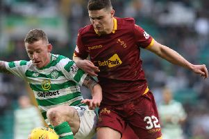 Jake Hastie in action against Celtic's Jonny Hayes during Motherwell's 4-1 defeat at Parkhead on Sunday (Pic by Ian McFadyen)