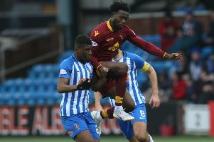 Ariyibi in action at Kilmarnock on Saturday (Pic by Ian McFadyen)
