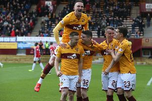 Motherwell players celebrate David Turnbull's early opener against Hamilton (Pic by Ian McFadyen)