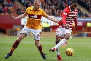 Liam Grimshaw (left) in action against Hamilton Accies on Saturday (Pic by Ian McFadyen)