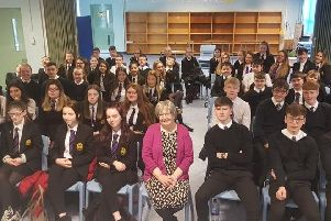 Motherwell and Wishaw MP Marion Fellows recently visited St Aidan's High where she spoke to modern studies classes about her role as a politician MP