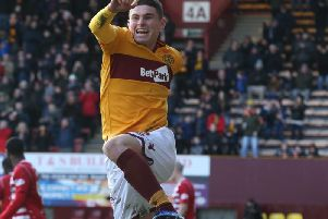 Jake Hastie celebrates scoring Motherwell's clinching third goal against Hamilton (Pic by Ian McFadyen)