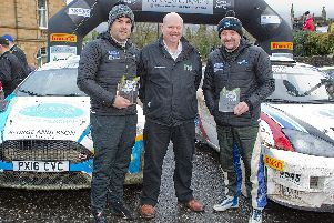 Euan Thorburn and Paul Beaton from Duns won the Border Counties Rally, pictured with Clerk of the course, Clayton Lackenby (Pictures by Bill McBurnie)