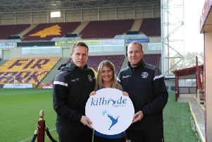 Steven Hammell, MFC Academy director, Karlyn Robertson of Kilbryde Hospice and David Clarkson, head of youth programme at MFC Academy