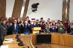 Members of Fool On Support are pictured at Holyrood with MSPs Clare Adamson and Claire Baker and Councillor Agnes Magowan