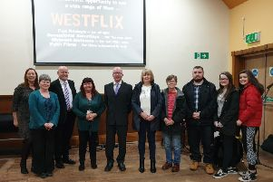 The Rev Calum Stark (centre, left) was delighted to launch 'Westflix' at Bellshill West Parish Church