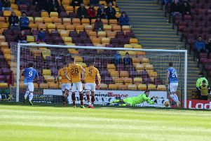 Motherwell keeper Mark Gillespie saves Liam Craig's first half penalty for St Johnstone (Pic by Ian McFadyen)
