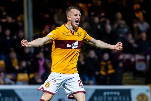 Motherwell's David Turnbull celebrates scoring in the 3-0 rout of Aberdeen at Fir Park last November