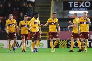 Motherwell players celebrate the equaliser at Pittodrie tonight by Jake Hastie (first left) (Pic by David Cowe)