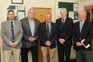 The top table at Selkirk Golf Club's dinner last Friday; Les McAllister, Rory McLeod, captain Jackson Cockburn, John Smail and Paul Tomlinson (picture by Grant Kinghorn).