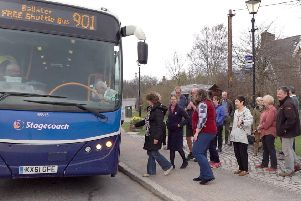 The first shuttle bus service ready to leave Braemar for Ballater on Sunday