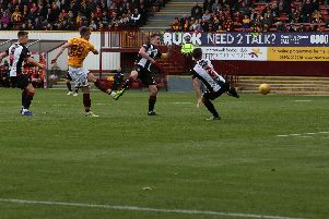 David Turnbull fires Motherwell ahead against St Mirren (Pic by Ian McFadyen)