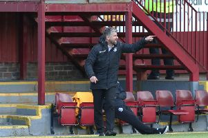 Robbo offers Motherwell players guidance during St Mirren game on Saturday (Pic by Ian McFadyen)