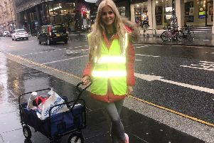 Miss Scotland finalist Anita Walls volunteering with the Homeless Street Team in Glasgow