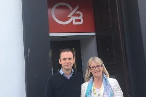 Cllr Vener & MP Stephen Gethins outside the branch.