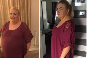 Charlene Paterson before her weight loss and after losing more than five stone.