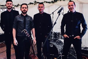 Carbon Copy were named Best Wedding Band in Scotland at the Book Event Entertainment Awards 2019, (l-r) Martin McLinden (guitarist), Mark Coffied (bassist and singer), Ian Saunders (drummer), David Swan (lead singer)