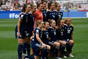 Christie Murray (front, second left) in Scotland lineup which lost 2-1 to England on Sunday (Pic by Christophe Simon/Getty Images)
