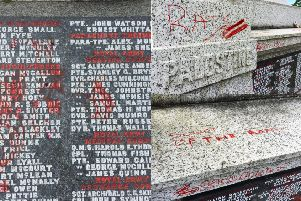 Some of the sickening graffiti scrawled on Motherwell War Memorial