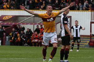 David Turnbull celebrates scoring against St Mirren last season (Pic by Ian McFadyen)