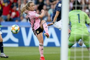 Scotland's Erin Cuthbert in action against Argentina (Pic by Richard Sellers/PA Wire)