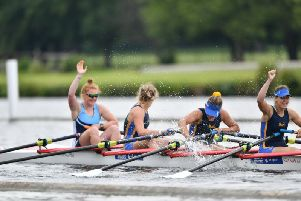 Perri McCluskey celebrates Henley victory with her crew (Pic by Tom Asteriades)