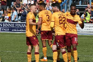 Motherwell players celebrate scoring on Saturday (Pic by Ian McFadyen)