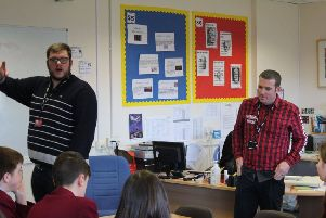 Jonathan Davie and David Graham, from Hamilton and East Mains Baptist Churches respectively, talk to pupils