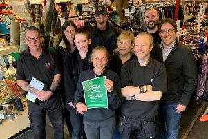 The Stellas Voice team at Peterhead celebrates gaining its kitemark from Zero Waste Scotland