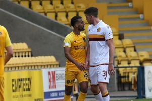 Motherwell defender Declan Gallagher squares up to Livingston's Aymen Souda on Saturday (Pic by Ian McFadyen)