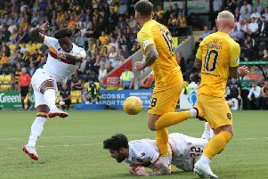 Devante Cole unleashes a shot at goal during Saturdays 0-0 draw at Livingston (Pic by Ian McFadyen)