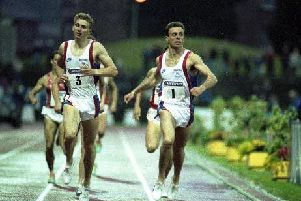 McKean (right) battles GB team-mate Brian Whittle in 1991