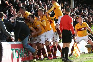 Motherwell players celebrate a 2-1 home league win over Hearts in February (Pic by Ian McFadyen)