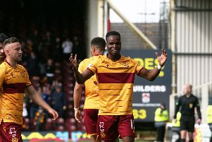 Motherwell's Sherwin Seedorf celebrates after scoring the opener against Hibs on Saturday (Pic by Ian McFadyen)