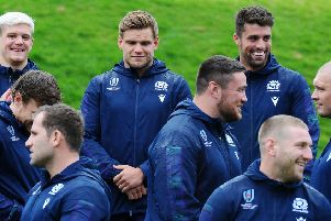 Members of  the Scottish Rugby World Cup squad preparing for action.
