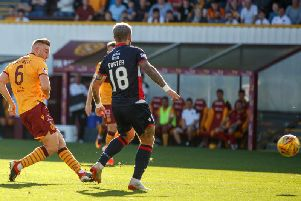 Allan Campbell shoots Motherwell ahead against Ross County (Pic by Ian McFadyen)