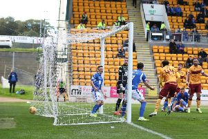 The ball nestles in the net for 1-0 Motherwell after Devante Cole's goal at McDiarmid Park (Pic by Ian McFadyen)